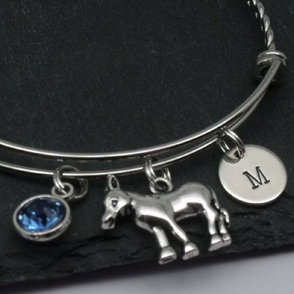 Donkey bangle bracelet gift personalised initial jewellery
